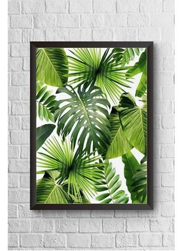 Lyn Home & Decor Yeşil Yapraklar Çerçeveli Poster Tablo 23.5X33,5 Siyah